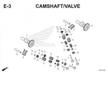 E3 – TRỤC CAM/XUPAP – HONDA SUPRA GTR 150 V1 – WINNER (K56F)